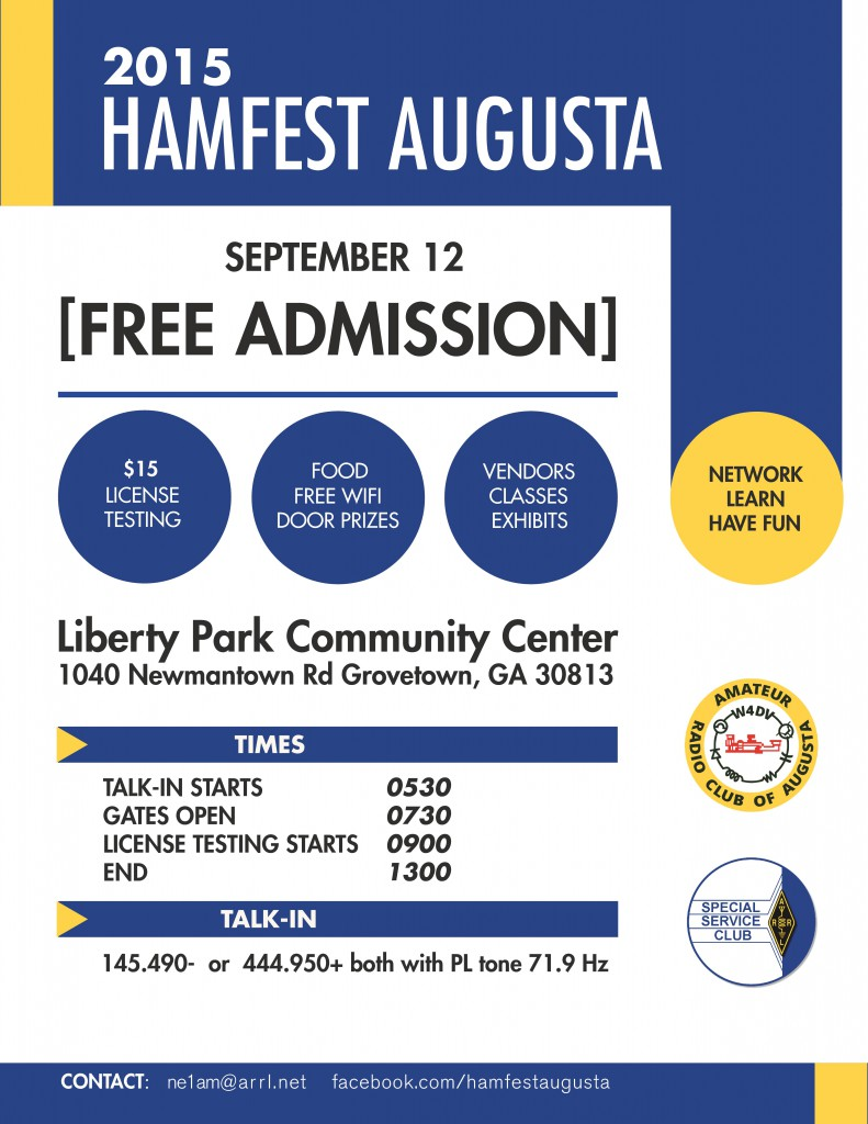 Hamfest Augusta Flyer 09-12-2015