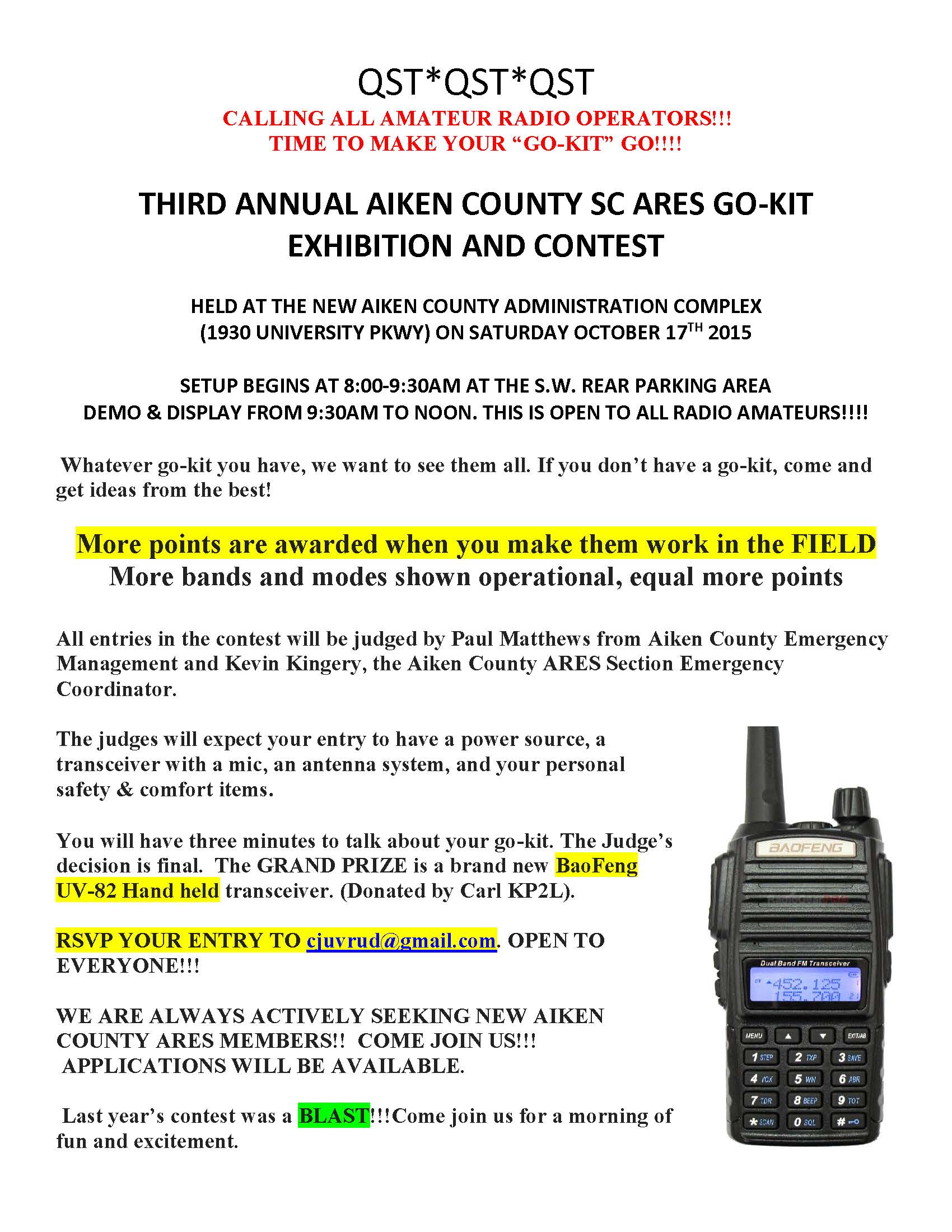 Third Annual Aiken County, SC ARES Go-Kit Exhibition and Contest 10-17-2015
