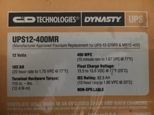 UPS12-400MR Dynasty Battery Label 07-05-2016